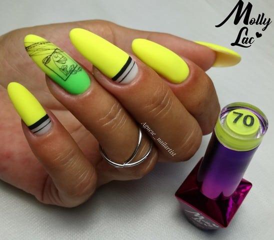 neonowe paznokcie w żółtym kolorze
