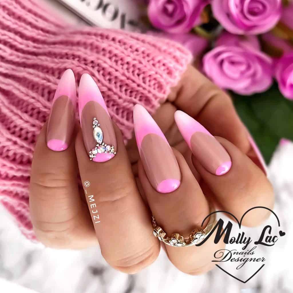wiosenne zdobienia na paznokciach z kryształkami