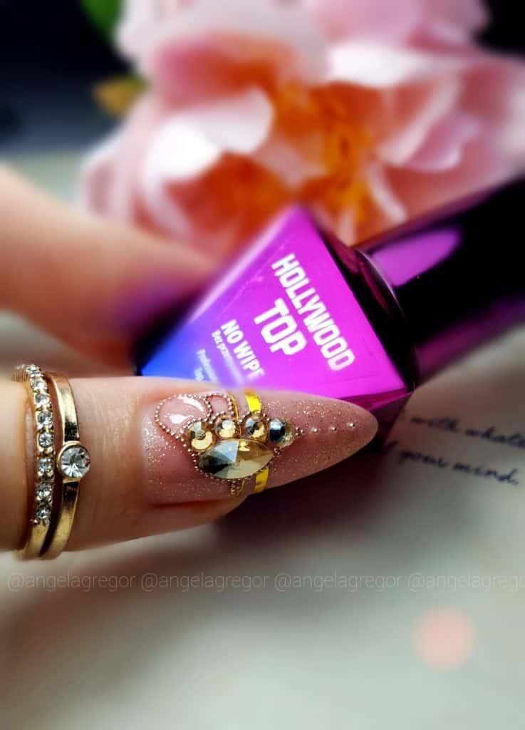 paznokcie hybrydowe z ozdobą