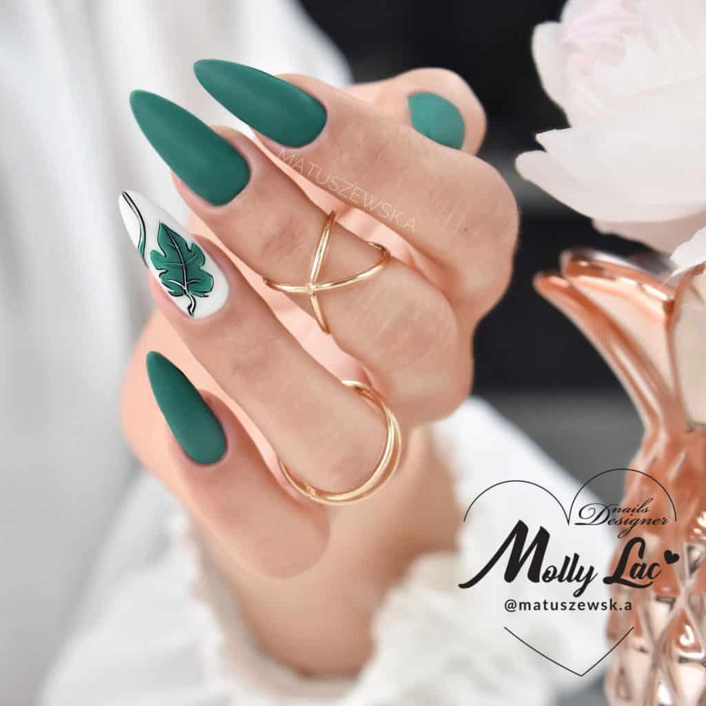 zielone paznokcie hybrydowe